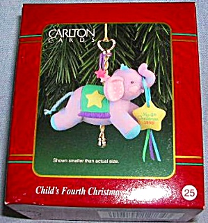 CXOR-037Y #25 CARLTON CARDS CHRISTMAS ORNAMENT 1998 CHILD'S MY FOURTH 4TH ELEPHANT (Image1)