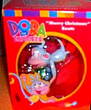 DORA THE EXPLORER MERRY CHRISTMAS BOOTS American Greetings 2003 AXOR-022J Green Glass (Image1)