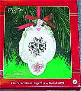 2001 Carlton Cards First Christmas Ornament NIB 2 CXOR-002E Hanging Wreath Porcelain (Image1)