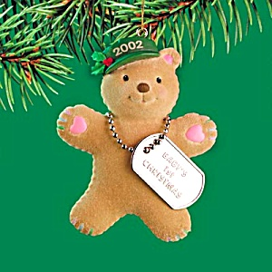 2002 Mmorn-013g Baby's First Christmas Xmas Army Teddy Bear W/dogtags Operation Santa