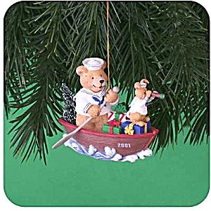 2001 MMORN1009E HOLIDAY AHOY! Paddling Sailor Bear Rabbit Telescope Dinghy AAFES Navy (Image1)
