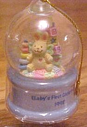 '98 FXOR-004Y AMERICAN GREETINGS BABY BOY'S FIRST 1ST XMAS CHRISTMAS Blue Water Globe (Image1)