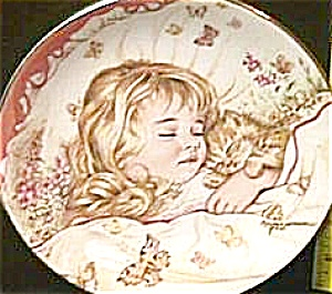 MONDAY'S CHILD A CHILD'S BLESSING Pam Cooper CrownWare Eng Hamilton Blonde Girl Kitty (Image1)