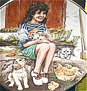 FRIDAY'S CHILD A Child's Blessing Cooper CrownWare Hamilton Girl Cat Dog Chick Bunny (Image1)