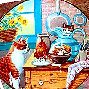 TABLE MANNERS Country Kitties 1989 Gre GERARDI Kittens Watched By Momma Tabby Cat (Image1)