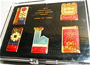 Coke Coca Cola Winter Olympics Games Pin Set of 5 Third Of Three 15th Anniversary Box (Image1)