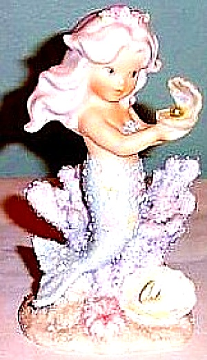 June Enesco Coral Kingdom Pearl #137375 Mermaid Shimmer Stone Figurine Birthstone '94
