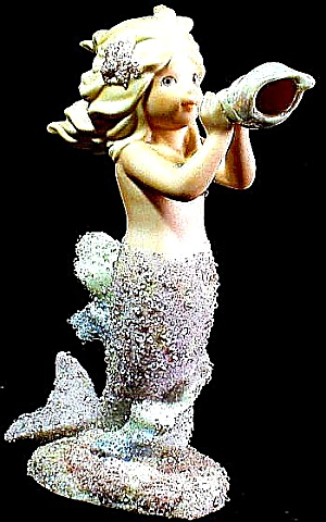 Enesco Coral Kingdom Aria #533041 Mermaid Blow Conch Shell Shimmer Stone Shimmerstone