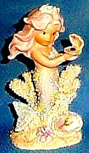 OCTOBER #137413 ENESCO CORAL KINGDOM OPAL Birthstone Mermaid Shimmerstone Figure 1994 (Image1)