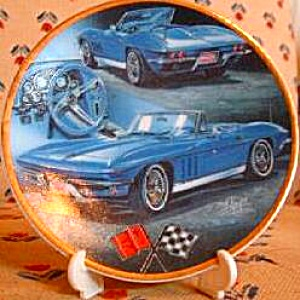 Enesco CollectibleMini-Plate 1965 Chevrolet Corvette Hot GMC #174890 Blue Convertible (Image1)