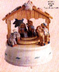 CHERISHED TEDDIE Nativity w/Creche Revolving Mini #903485 Enesco Silent Night Musical (Image1)