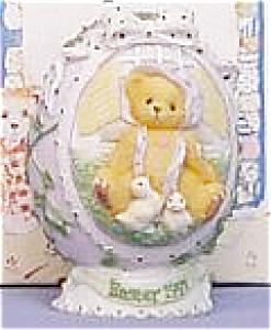 1997 CHERISHED TEDDIES #203017 EASTER EGG 3 DIMENSIONAL BEAR + 2 CHICKS Enesco (Image1)