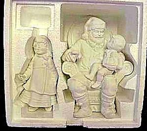 Department Dept 56 WINTER SILHOUETTE Treasures #7841-7 A VISIT W/SANTA 2 piece 1988 (Image1)