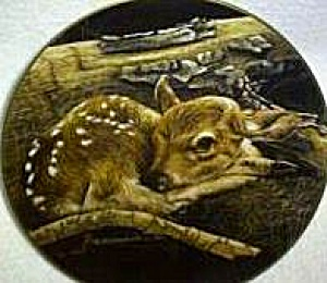 Modern Masters Newborn Fawn Sally Miller Babes in the Woods White-Tailed Deer IL 1982 (Image1)