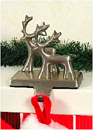 #40-0502 Silver Deer New Stocking Holders Available In Four Different Styles Reindeer