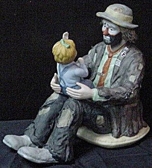 Emmett's Fan - Ekj First Limited Edition 1985 Flambro Emmett Kelly Jr. Clowns