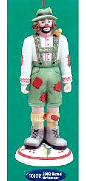 2002 EMMETT KELLY JR. Clown Ornament #10102 German Tyrolean Nutcracker 6 in. Flambro (Image1)