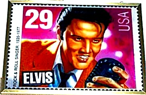 #8040 ELVIS STAINED GLASS GUILD Rock & Roll STAMP Glassmasters Richmond Virginia (Image1)