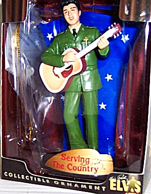 ELVIS PRESLEY SERVING THE COUNTRY BOXED ORNAMENT Trevco Action Performance EPE 2003 (Image1)