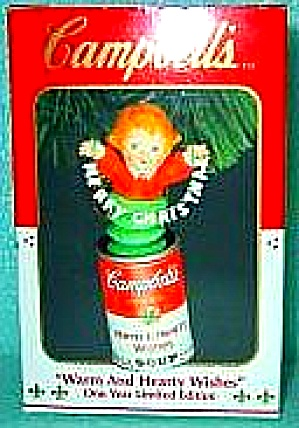 Warm and Hearty Wishes 1 Year Limited Edition Enesco Campbell's Soup Can Ornament '93 (Image1)