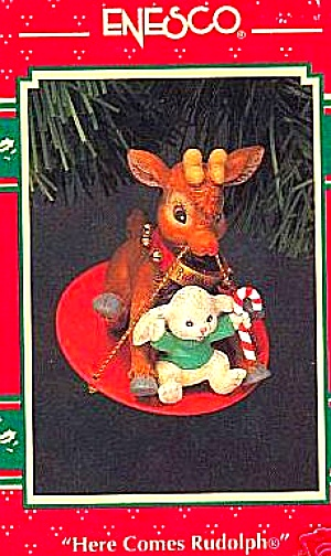 1993 ENESCO TREASURY ORNAMENT HERE COMES RUDOLPH 2 YEAR LIMITED EDITION BUNNY CANE (Image1)
