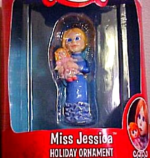 SANTA CLAUS IS COMIN' TO TOWN Miss Jessica Holiday Ornam Enesco 1970 1998 #115498 MIB (Image1)