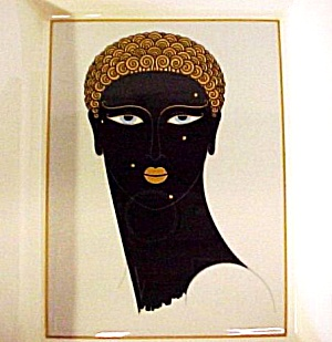 Erte Queen Sheba A3253 1987 China Japan Mikasa Deco Black African Negro Rectangle Ame