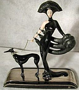 SYMPHONY IN BLACK Franklin Mint House Erte Sevenarts Ltd Art Deco Greyhound Wolfhound (Image1)