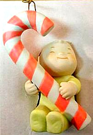 1985 Family Circus Bil Keane PJ's Candy Cane Christmas Ornament FFCO-6 Clay in Mind® (Image1)