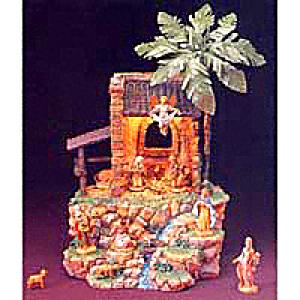13 Piece Set 2 1/2 Inch Figure Lighted Musical Hillside Nativity Oh Holy Night #54213