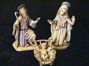 Fontanini Retired Holy Family Depose Italy W/halo Italy Spider Mark 4 Pc Earth Tones