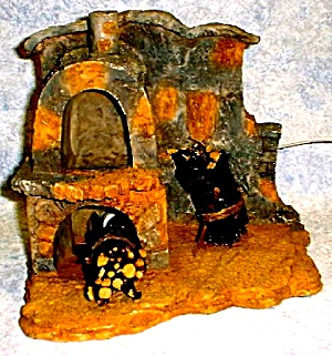 Retired Fontanini #94887 Lighted Lited 2 Story Stone Fireplace + flicker bulb twigs (Image1)
