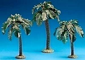 Fontanini 3 pc. SINGLE trunk PALM TREE SET 5 inch Nativity Three 56572 Resin Fabric (Image1)