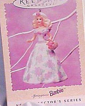 Springtime #1 First Barbie flowered Lavender Dress 1995 QEO806-9 OP $12.95 Easter Ser (Image1)