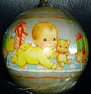 HALLMARK Baby's First 1st Christmas Satin Ball Ornament 1978 baby teddy bear kitty 78 (Image1)