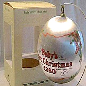 Hallmark Baby�s First 1st Christmas Satin Ball Ornament 1980 MIB #QX200-1 '80 Santa (Image1)