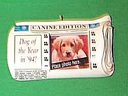 Hallmark Special Dog 1994 Photoholder Canine Newspaper Ornament QX5603 MINT Orig. Box (Image1)