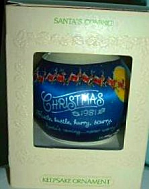 1981 SANTA'S COMING QX812-2 Satin Ball Ornament Santa Mrs Claus Elves Reindeer Sleigh (Image1)