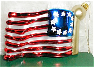 Old-fashioned Glass Double-sided American U.s.flag New 3x5 Hand Painted Handblown