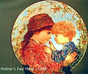 Edna Hibel Mother's Day '88 Sarah & Tess Bradford Exchange Bradex #84-K41-9.5 Knowles (Image1)