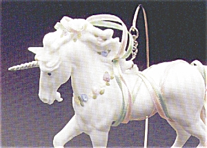 MAGICAL WHITE Porcelain UNICORN QX429-3 Limited Edition +Wood Display Stand MIMB (Image1)