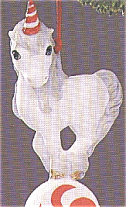 MERRY-MINT WHITE Porcelain UNICORN QX423-4 Red Striped Horn Peppermint Candy MIB 1988 (Image1)