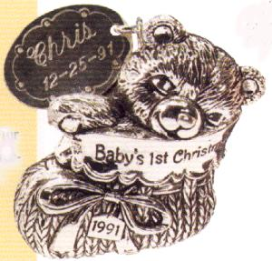 SILVER 1991- QX510-7 Baby's First Christmas Engrave/Personalize by Francis (Image1)