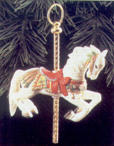 Tobin Fraley Carousel Hallmark QX489-1 QX4891 #1 White Horse base NRFB C. Carmel (Image1)