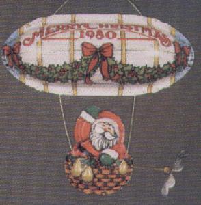 '80 QX138-1 Santa Santa's Flight blue + gold dirigible PRESSED TIN Linda Sickman (Image1)