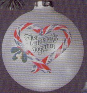 1983 QX208-9 First ChristmasTogether Artist Linda Sickman Candy Canes Glass Ball (Image1)