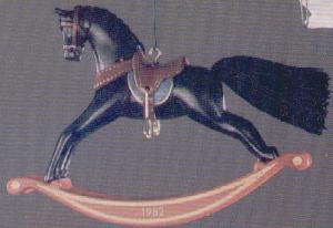 ROCKING HORSE #2 82 QX502-3 Artist Linda Sickman Black Stallion Maroon Rocker MB (Image1)