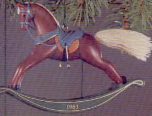 ROCKING HORSE #3 1983 QX417-7 Artist Linda Sickman Russet + Green Rockers MIB (Image1)