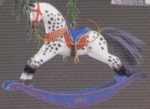 ROCKING HORSE #4 QX435-4 Artist Linda Sickman Black & White Appaloosa Rocker MIB (Image1)