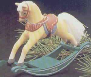 ROCKING HORSE #6 QX401-6 Artist Linda Sickman Golden Palomino Green Rockers MIB (Image1)